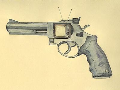 killer television weapon print gun tv illustration vintage painting ink revolver art watercolor killer television