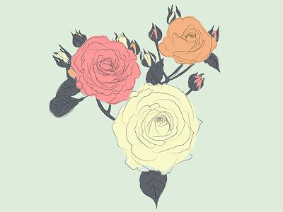 Floral print floral print nature vector leaves flower flowers illustrator illustration vintage roses rose