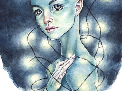 Devil print art illustration portrait watercolour watercolor girl elf lights night devil
