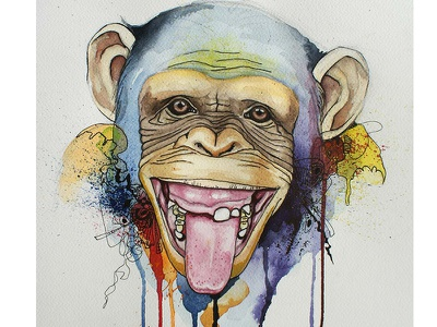 monkey painting print art colors watercolor illustration illustration ink watercolour watercolor funny monkey
