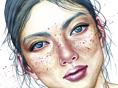 girl details face colors drawing hair splash portrait painting art freckles watercolor girl
