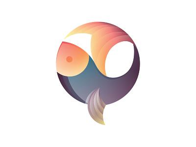 Fish illustrator branding colors icon ocean sea circle gradient badge logo design logo fish