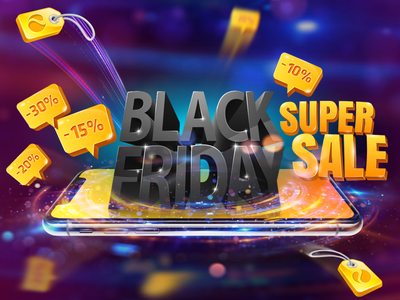 Black Friday colors price tags 3d effects night lights shining lights spin online store black mobile devices graphic design web design explosion black friday tech store gadgets mobile phone iphone screen