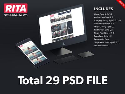 Rita Premium Magazine Theme free psd ux design ui design magazine theme free download psd template free psd template