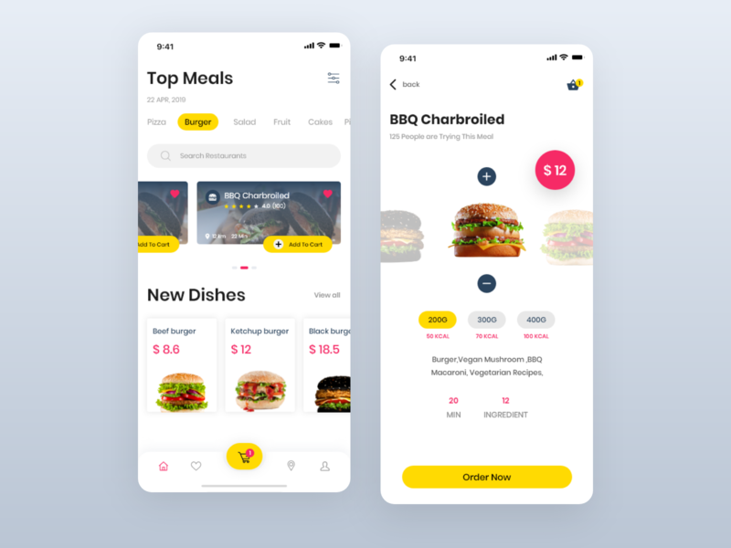 Food Delivery App ui  ux search list interface icons food delivery concept cart button burgers app