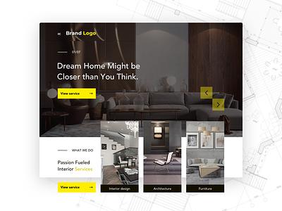 Interior website indoor interior furniture web design branding photoshop adobe interaction interface sketch uxdesign uidesign typography ux ui