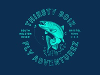Thirsty Boiz texture illustration retro grunge vintage typography rainbow trout trout apparel design design apparel t-shirt fish fishing