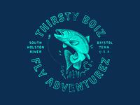 Thirsty Boiz texture illustration retro grunge vintage typography rainbow trout trout apparel design design apparel t-shirt fish fishing