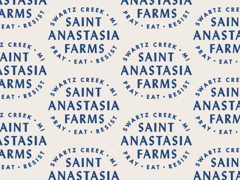 St. Anastasia Farms pattern stamp logo badge typography type lockup