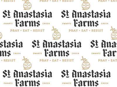 St. Anastasia Farms II iconography religious blackletter type lockup typography