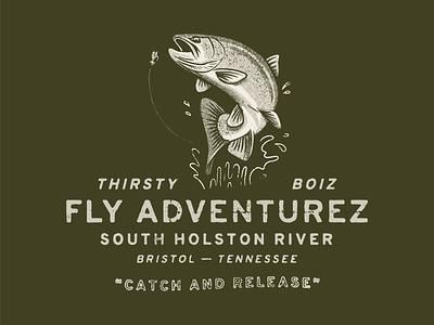 Thirsty Boiz Alt fly fishing illustration texture vintage typography type trout fish