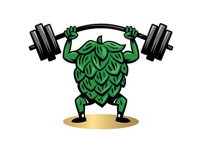 Pumped Up alcohol weightlifting workout gym illustration craft beer beer