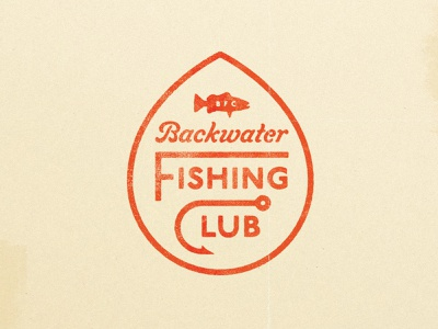 Backwater Fishing Club Badge custom lettering typography texture water sans script lettering badge club trout stream river lake fly fishing bait bass fishing