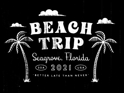 Beach Trip retro texture script fonts apparel tshirt vacation palm tree beach illustration typography