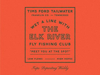 Elk River Fly Fishing Club vintage texture stamp lockup type typography fishing