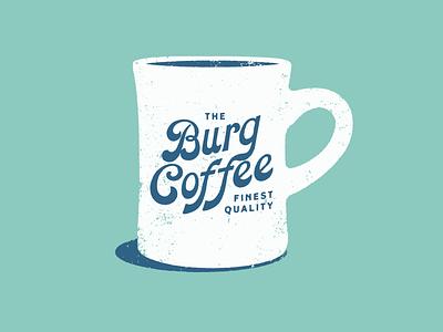 Burg Coffee illustration script logo mug print texture vintage coffee