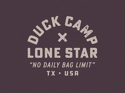Duck Camp x Lone Star austin texas beer fishing hunting logo badge texture type lockup typography
