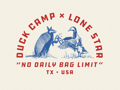 Duck Camp x Lone Star hunting typography illustration austin texas cheers toast duck armadillo beer