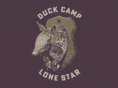 Duck Camp x Lone Star texture illustration can beer mount hunting texas armadillo