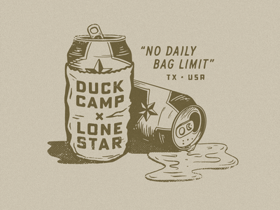 Duck Camp x Lone Star texture typography illustration austin texas cans beer