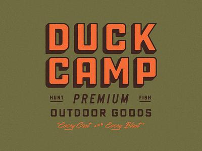Duck Camp Lockup texas fishing hunting drop shadow script vintage type industrial lockup typography