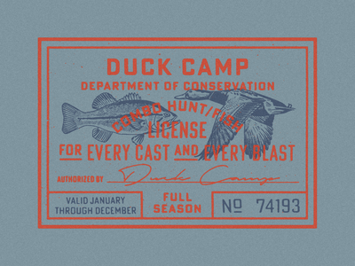 Duck Camp License stamp fishing hunting fish bass duck type lockup vintage texture illustration typography