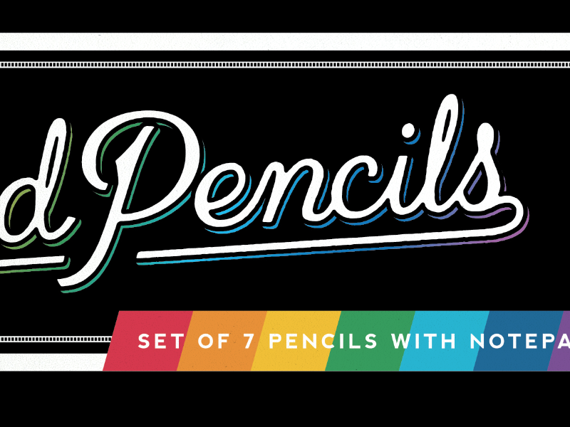 Colored Pencil Box custom lettering typography lettering script