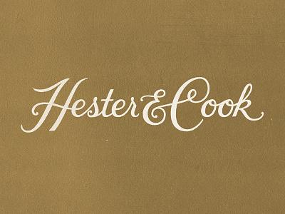 Hester & Cook logo custom type hand lettering script logo retro texture vintage lettering