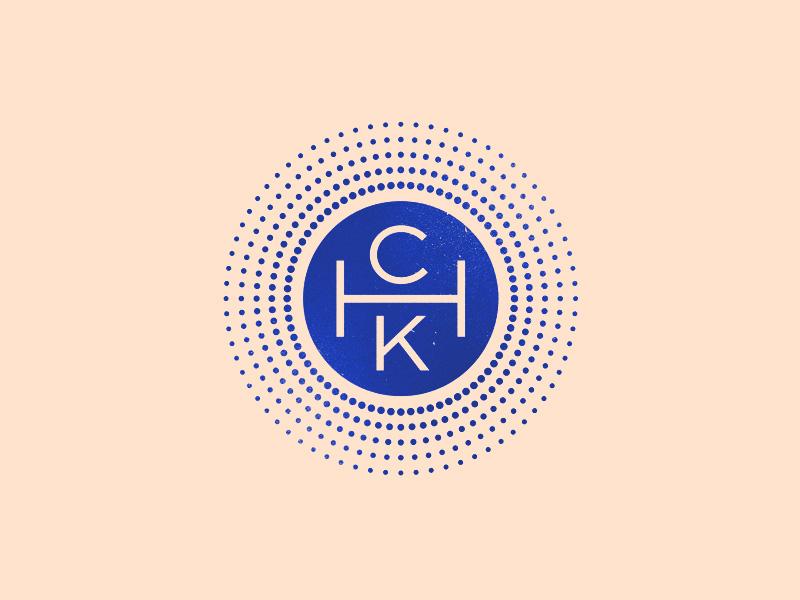CHK rays sunburst round minimal logo badge mark monogram