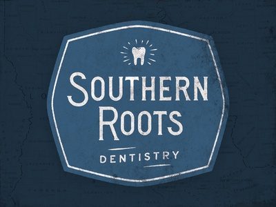 Southern Roots Dentistry WIP hand lettering custom lettering tooth badge logo typography type lettering