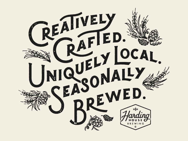Tagline WIP hand lettering brewery texture vintage illustration wheat hops beer lettering