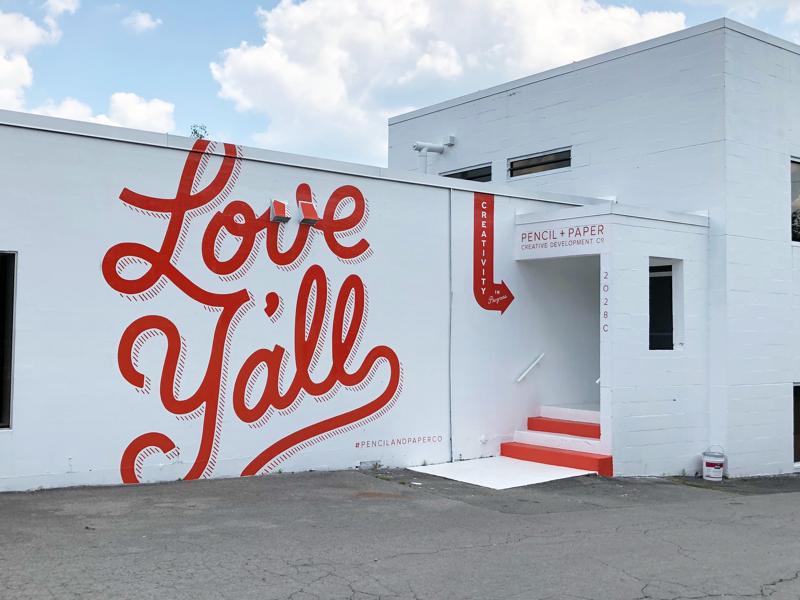 Love Y'all mural nashville love monoline script type hand lettering