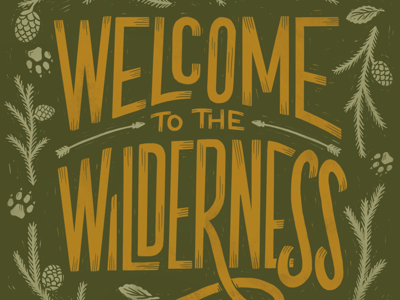 Welcome to the Wilderness block print wild nature woodcut custom lettering hand lettering lettering