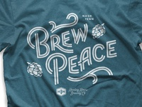Brew Peace t-shirt lettering