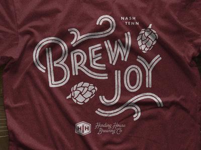 Brew Joy Tee typography type custom lettering joy hops brewery beer brewing lettering