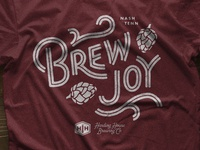 Brew Joy Tee typography type custom lettering joy hops brewery beer brewing lettering