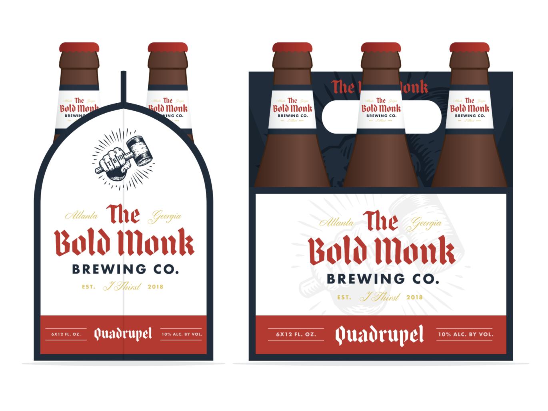 The Bold Monk 6-pack beer label hops monk atlanta beer branding brewery beer
