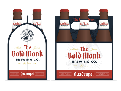 The Bold Monk 6-pack beer label hops monk atlanta beer branding brewery beer