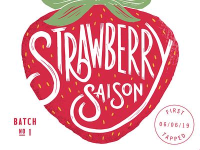 Strawberry Saison bee procreate ipad strawberry beer label label custom type lettering beer
