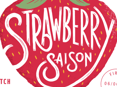 Strawberry Saison bee procreate ipad strawberry beer label label custom type lettering beer