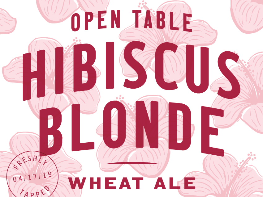 Open Table Hibiscus Blonde hibiscus illustration typography label beer label beer