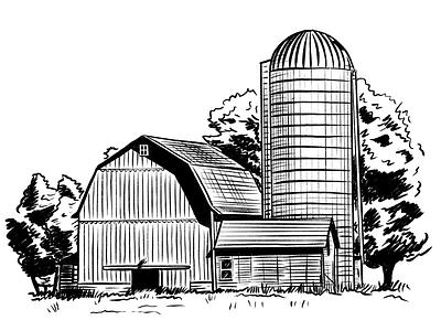 Farm Illo procreate silo farm illustration
