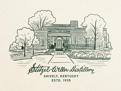 Stitzel-Weller Distillery line art ipad typography kentucky whiskey bourbon distillery illustration
