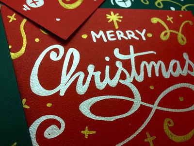 Christmas card detail christmas hand-lettering metallic