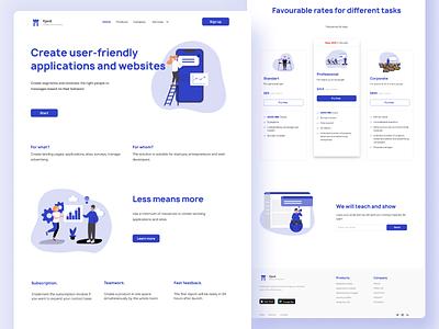 First screen of digital agency website illustration ui design firstscreen illustrations blue minimal website web digital