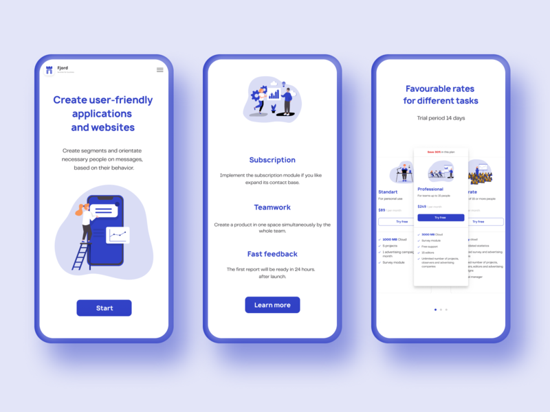 Mobile version of digital agency website firstscreen digital blue website illustration web uiux mobile minimal design ui