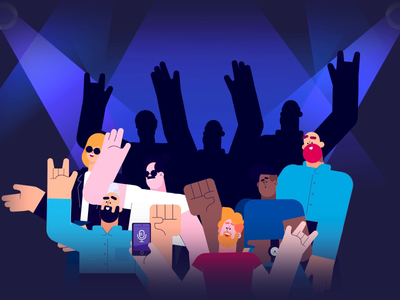 Dancing Crowd smooth ae vector illustration meme dancing dance motionstory looped loop design graphic character berg motion animation