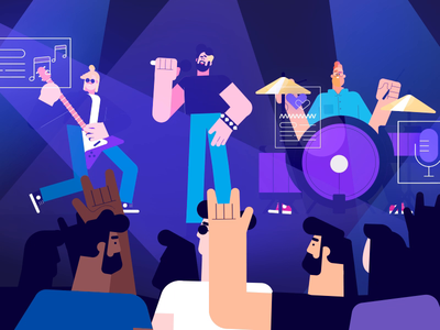 Band On Stage illustration ae loop people stage club guitar band playing design graphic character berg motion animation