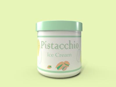 Ice Cream Pistacchio Flavour dimension logo design branding illustrator illustration