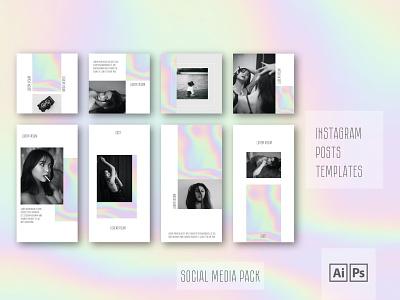Instagram Posts Templates 2021 branding gradiant poster instagram grid posts design photoshop instagram template instafeed typography